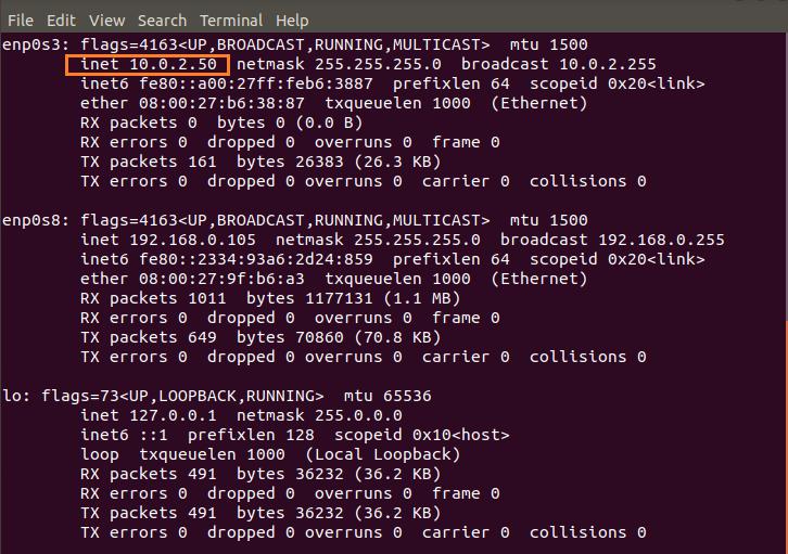 IP address using ifconfig command