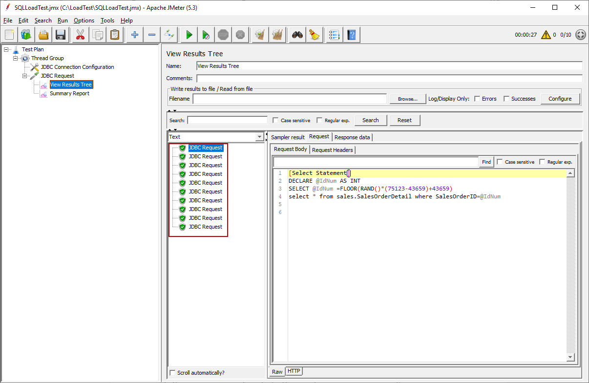 Monitoring the JMeter test result with View Results Tree