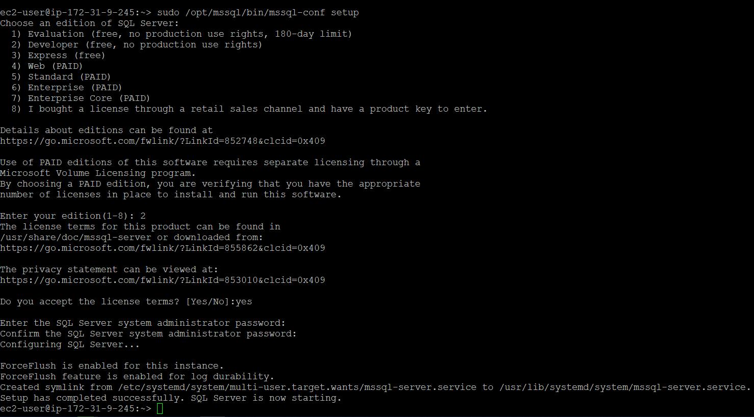 MSSQL configurations