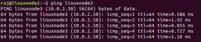 Ping response from linuxnode2 to linuxnode3