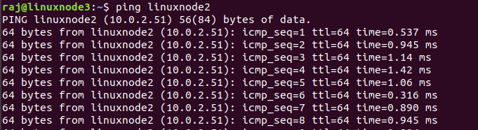 Ping response from linuxnode3 to linuxnode2