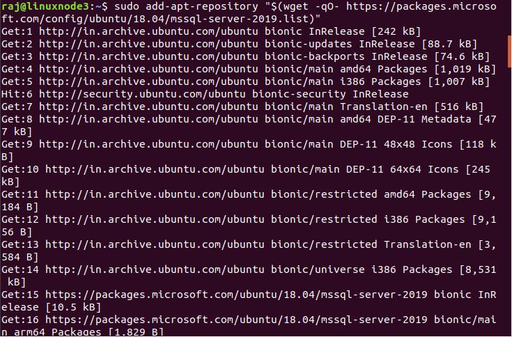 Register the 2019 Ubuntu repository