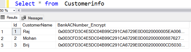Remove unencrypted data column
