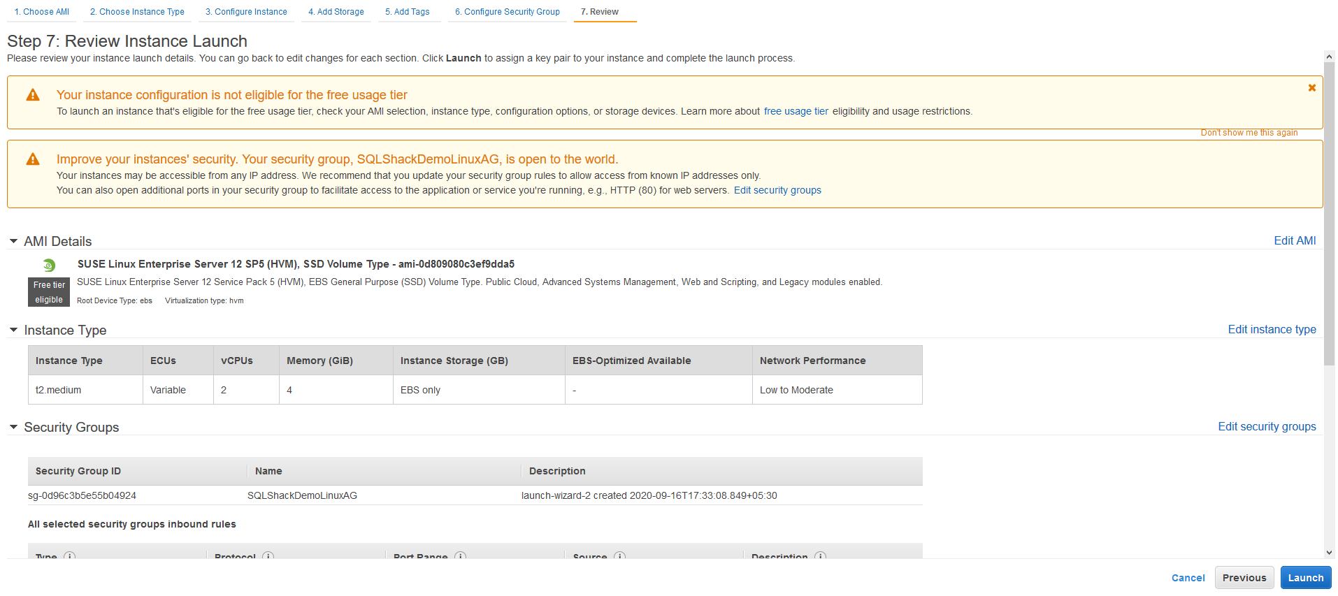 Review Instance Launch for Amazon EC2 instance