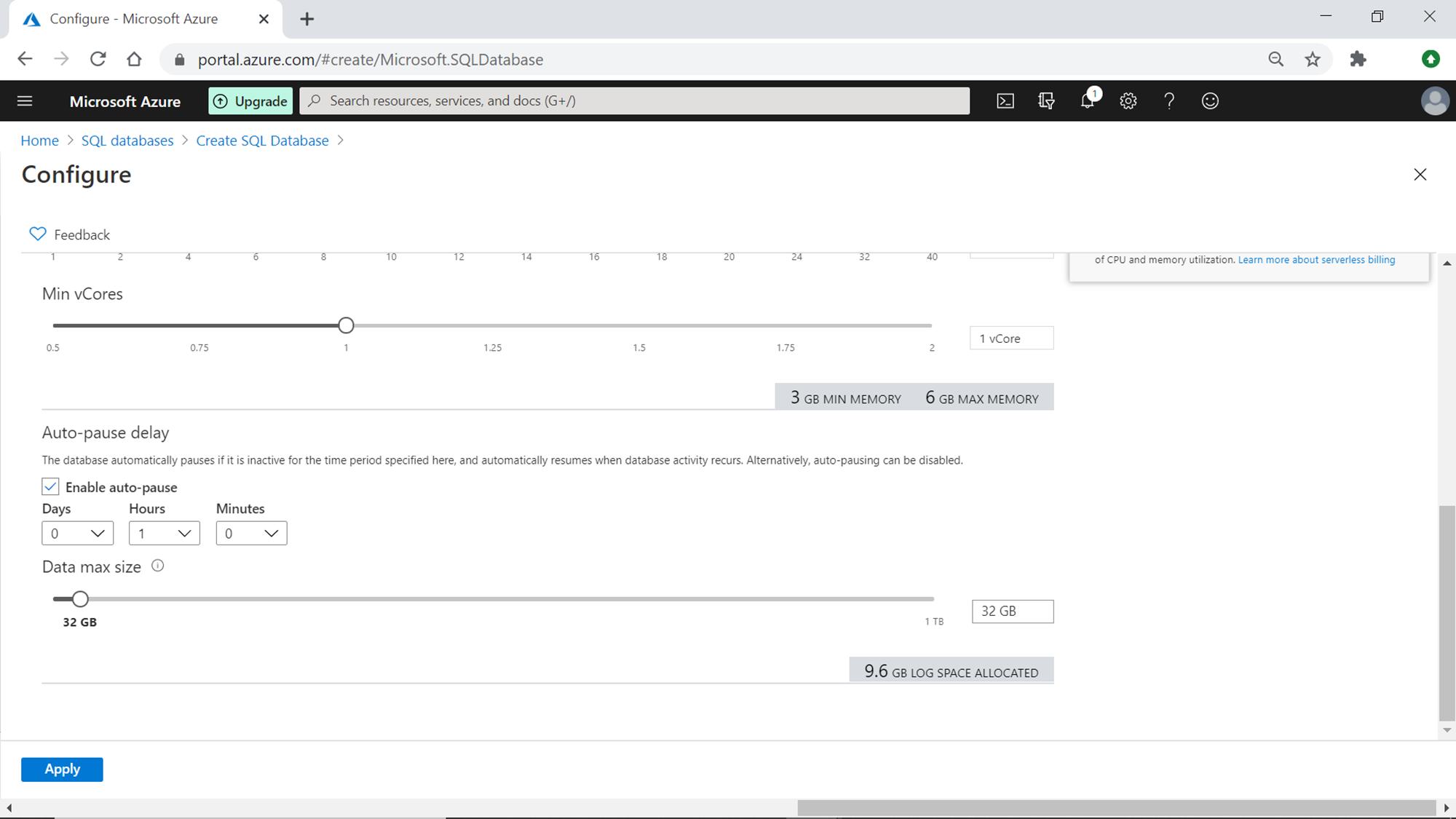 create a serverless azure sql database