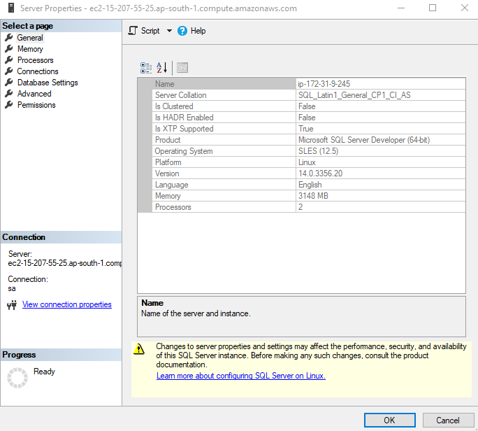 SUSE Linux using a remote SQL Server Management Studio
