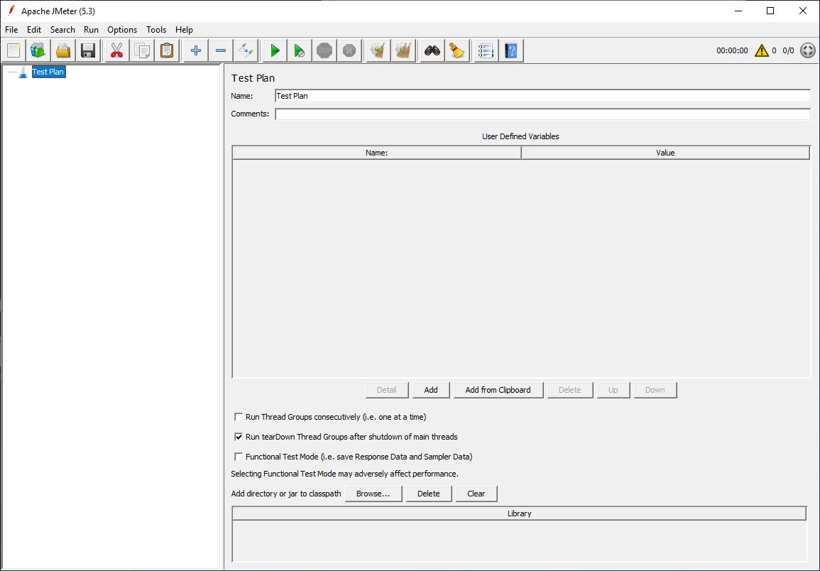 The meet screen of the Apache JMeter