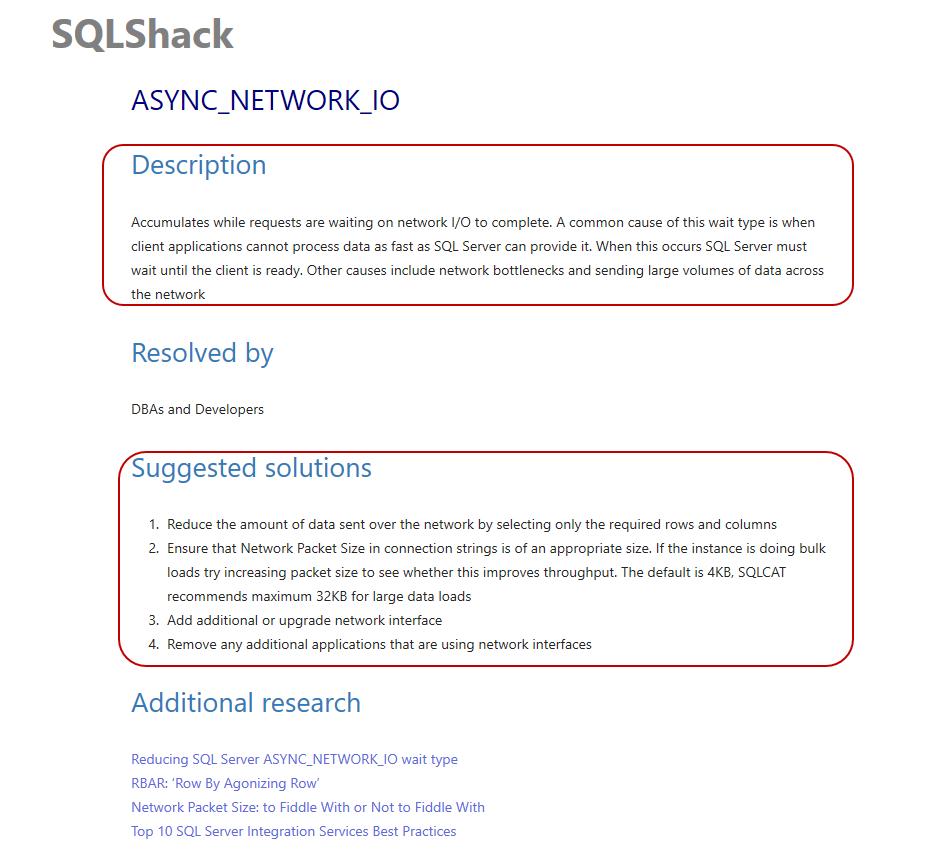 Troubleshooting ASYNC_NETWORK_IO wait type to increase SQL Server Performance