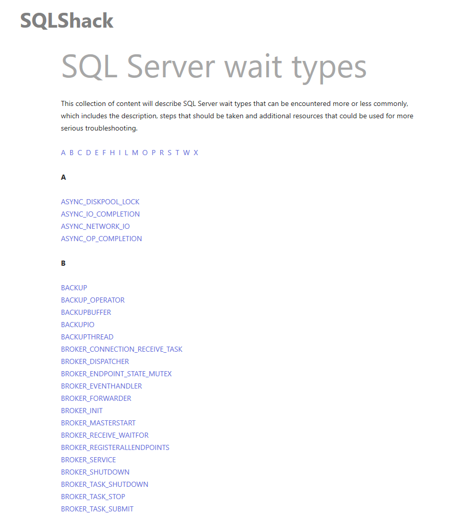 Tune SQL Server performance using with help SQLShack wait types collection