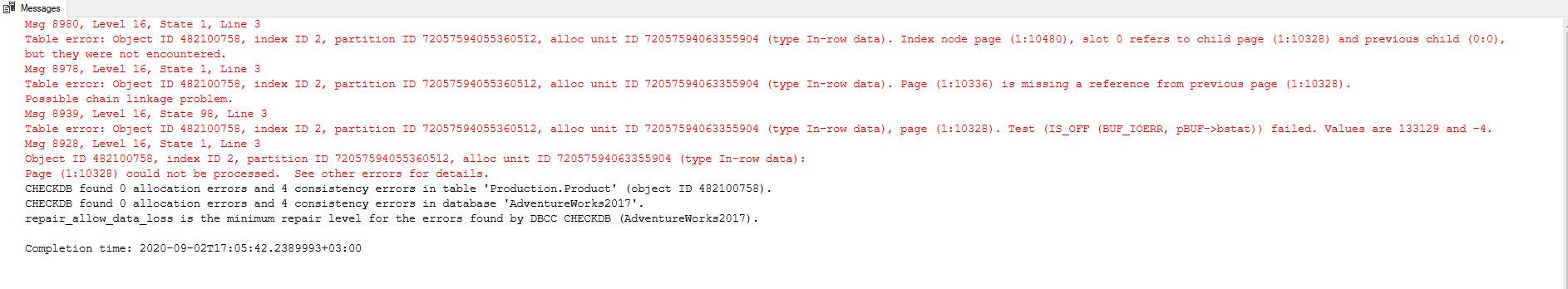Using DBCC CHECKDB command