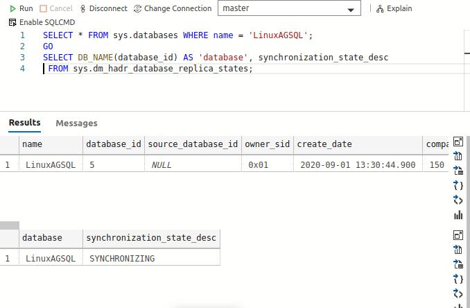 Verify the secondary database