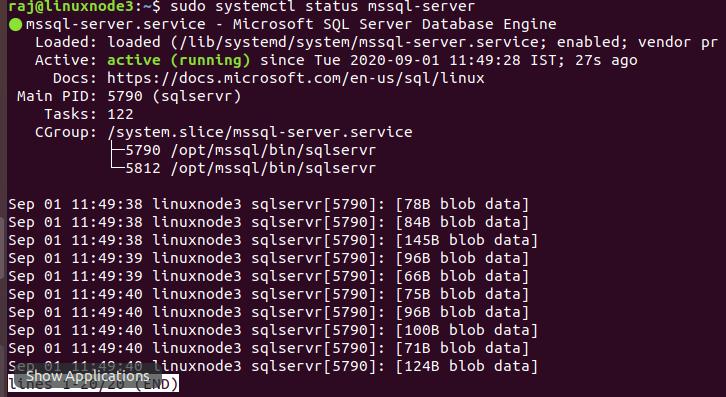 verify the SQL service status