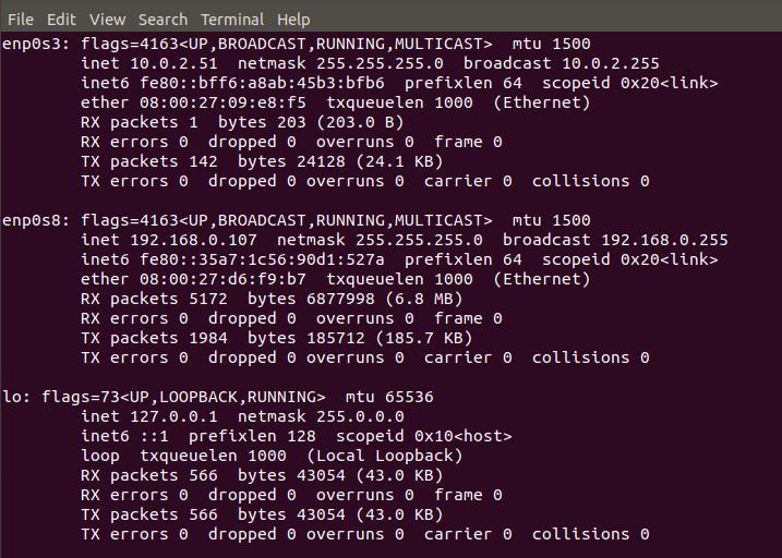 virtual machine for the static IP address