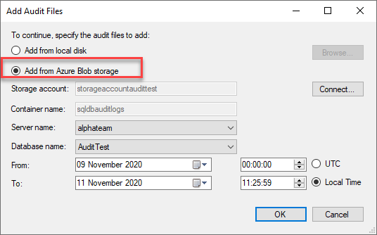Adding auditing files from Blob storage