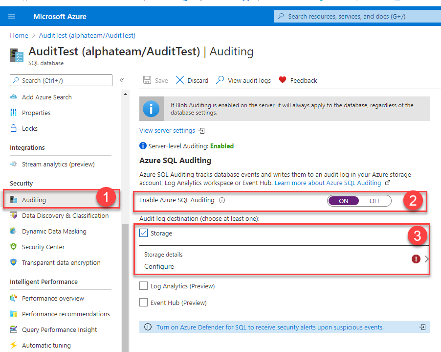 Auditing configuration page for database policy specification in Azure portal