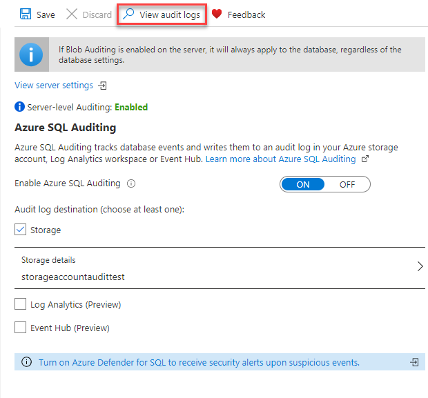 Auditing configuration page in Azure portal