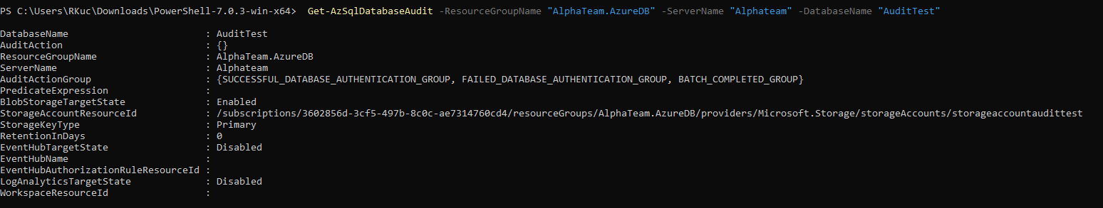 Azure AZ PowerShell get database audit policy call