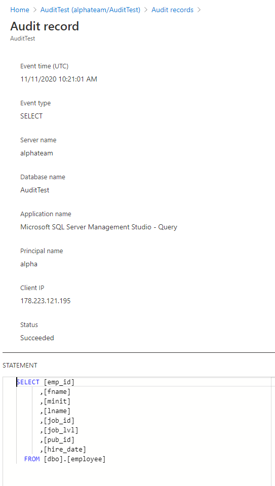 Azure SQL database auditing record overview in Azure portal