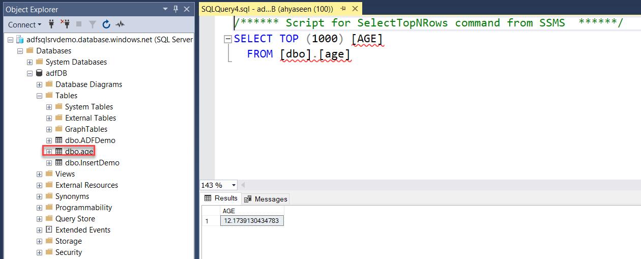 Azure SQL DB result