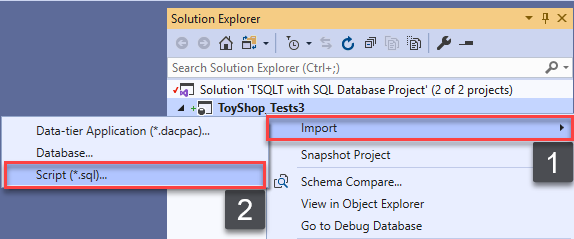 Choosing Import Script option