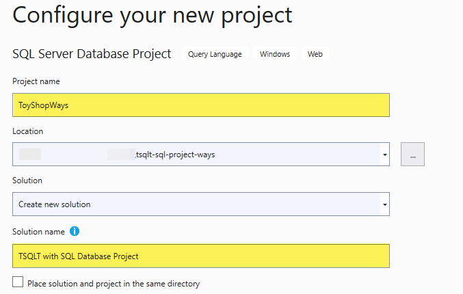 Configuring SQL Database Project
