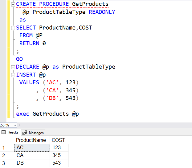 Create a Stored Procedure