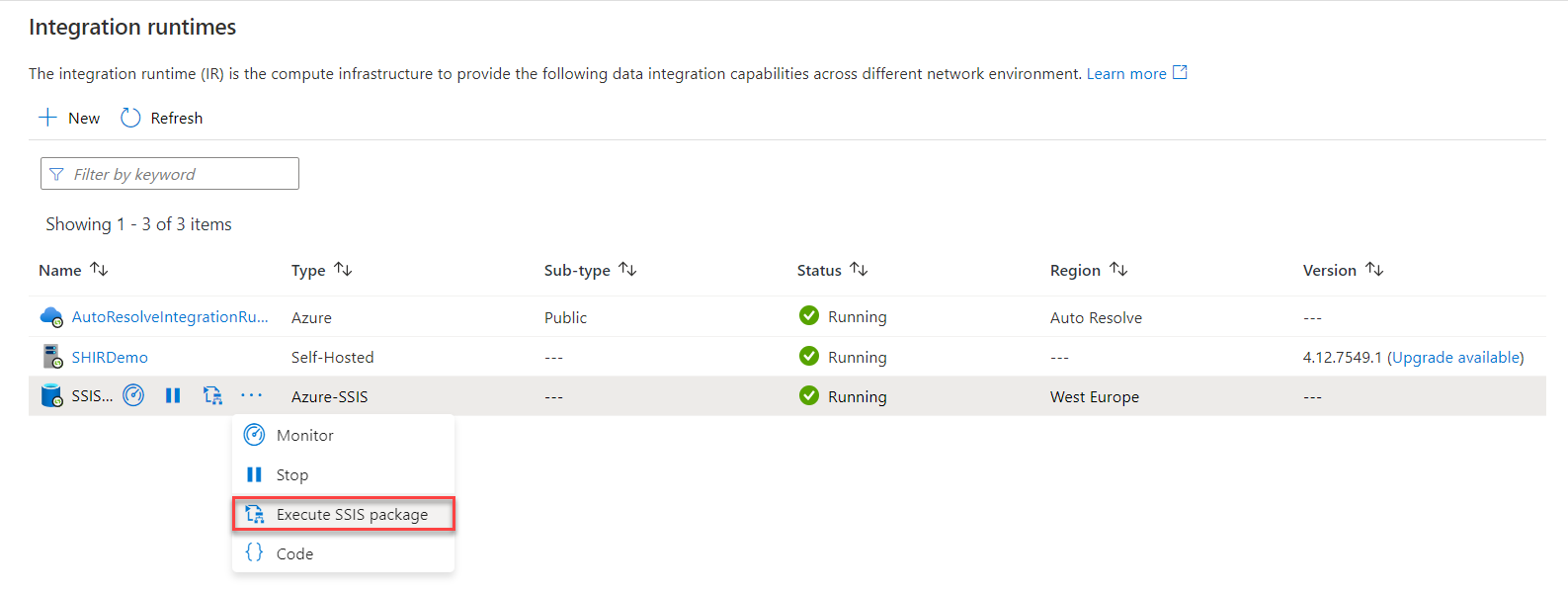 Execute SSIS package option