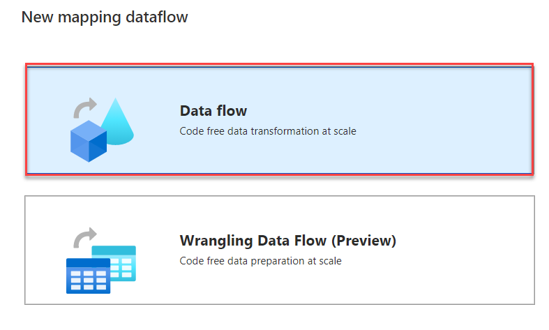 Mapping Data Flow type
