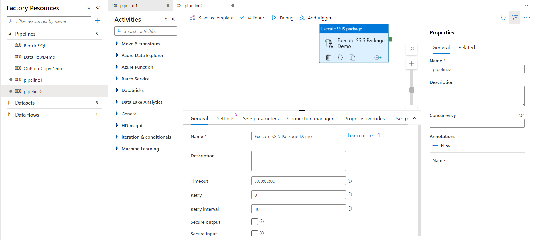New Pipeline with Execute SSIS Package activity