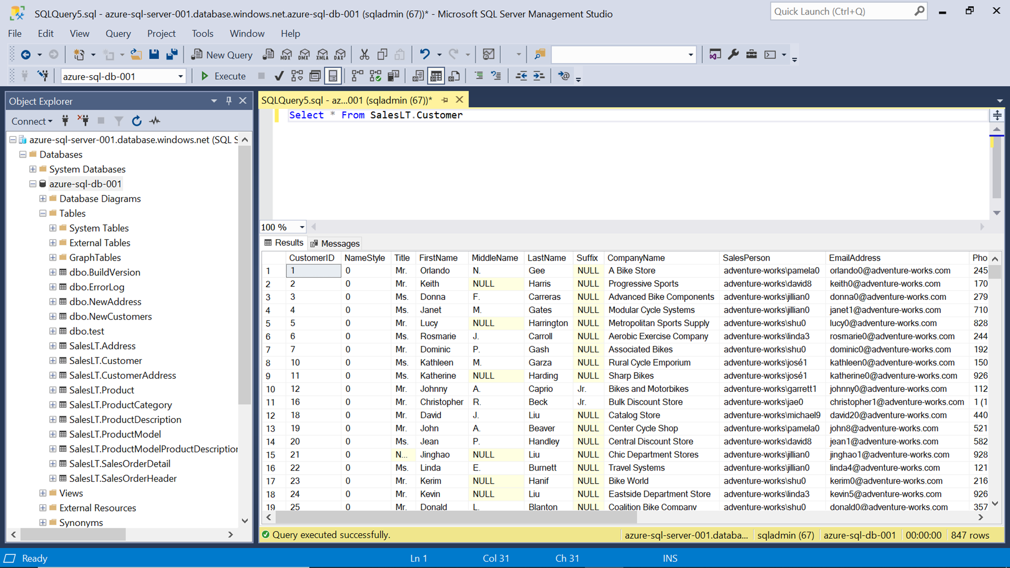 SQL Server Database with sample table