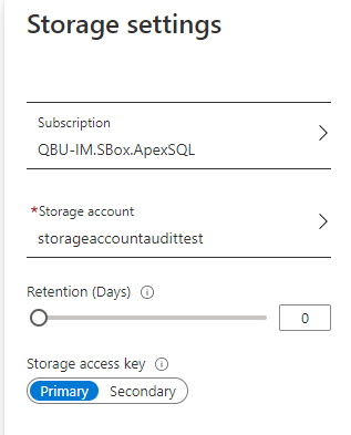 Storage settings for audited data in Azure