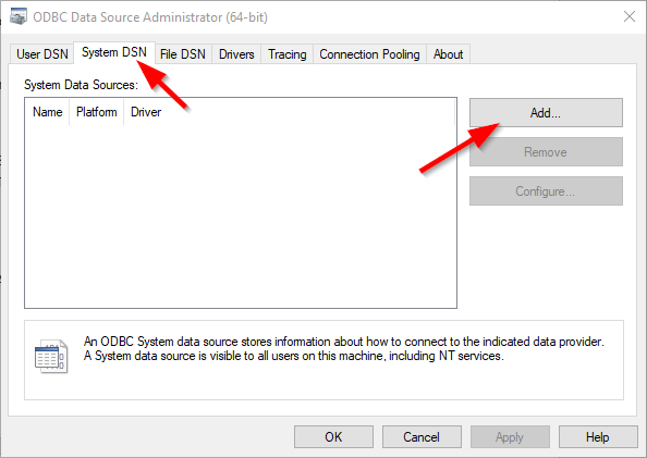 adding a system dsn to be used for importing data from MongoDB to SQL Server using SSIS