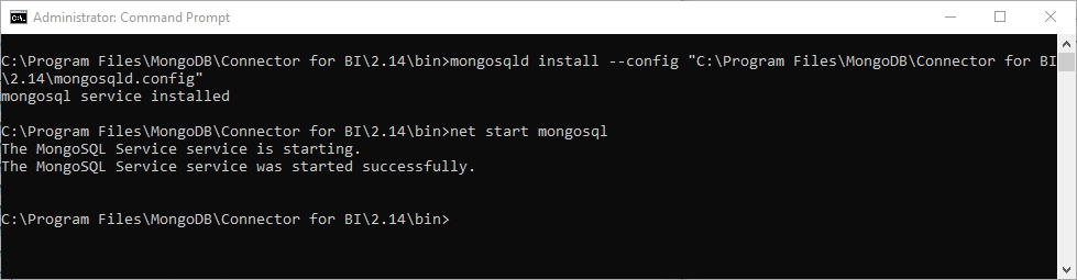 Creating a windows service for mongosqld, process for MongoDB to SQL Server using SSIS