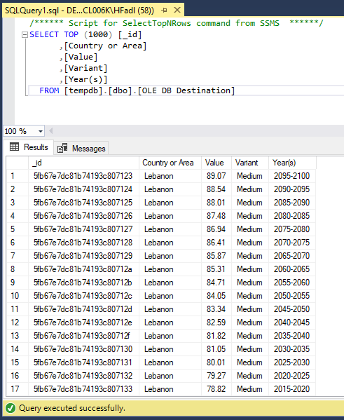 Imported rows from MongoDB to SQL Server using SSIS