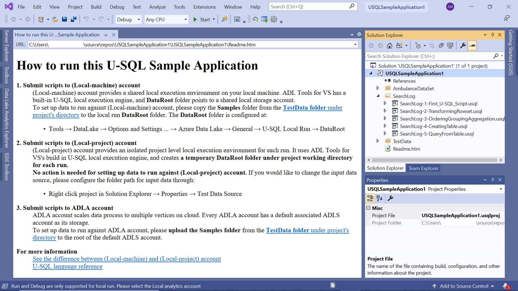 Sample U-SQL application