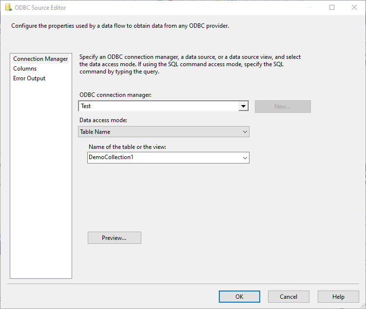 Selecting the collection name in the ODBC source, process for MongoDB to SQL Server using SSIS