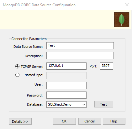 specifying the ODBC connection parameter