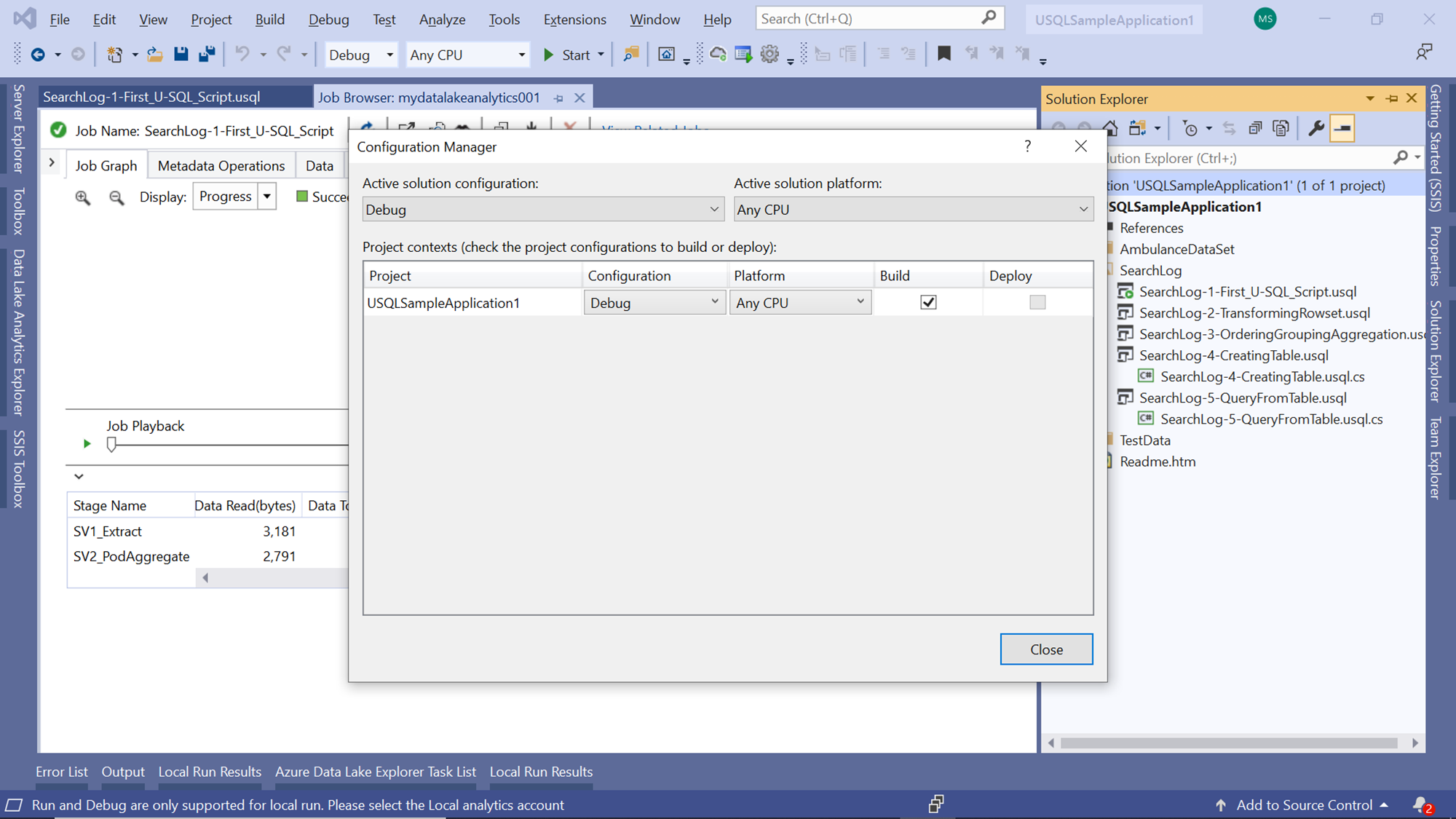 U-SQL Application Configuration Manager