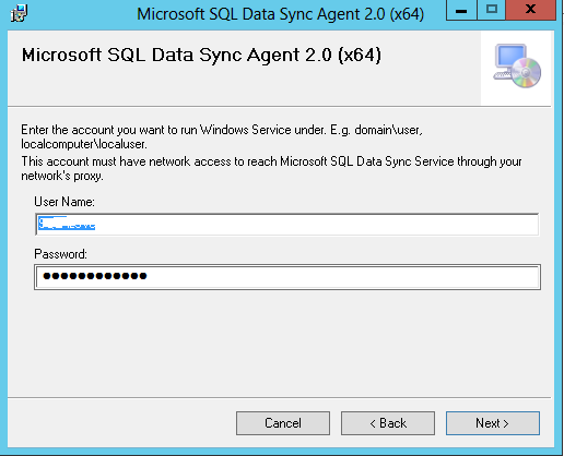 install SQL Data Sync Agent 2.0