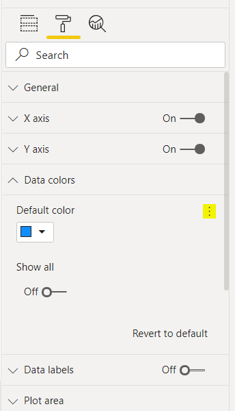 Selecting the three dots in the Default color pane