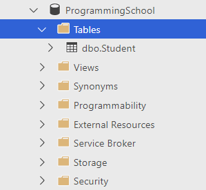 Created Student table in the sample database (ProgrammingSchool)