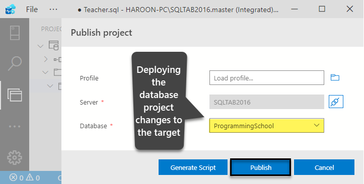 Deploying the database project (changes) to the target database