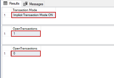 Explanation of the Implicit Transaction in SQL Server