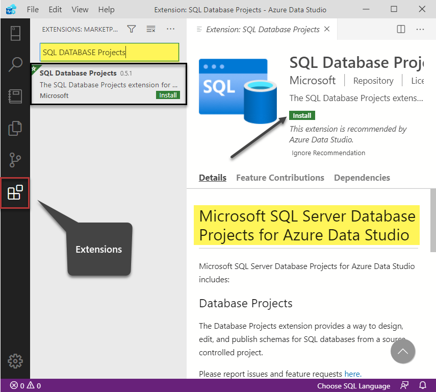 Installing SQL Database Projects Extension