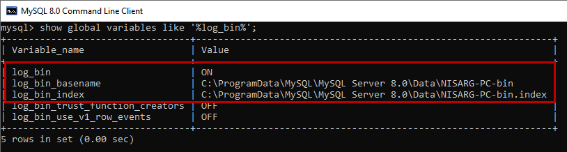 Location of MySQL binary logs