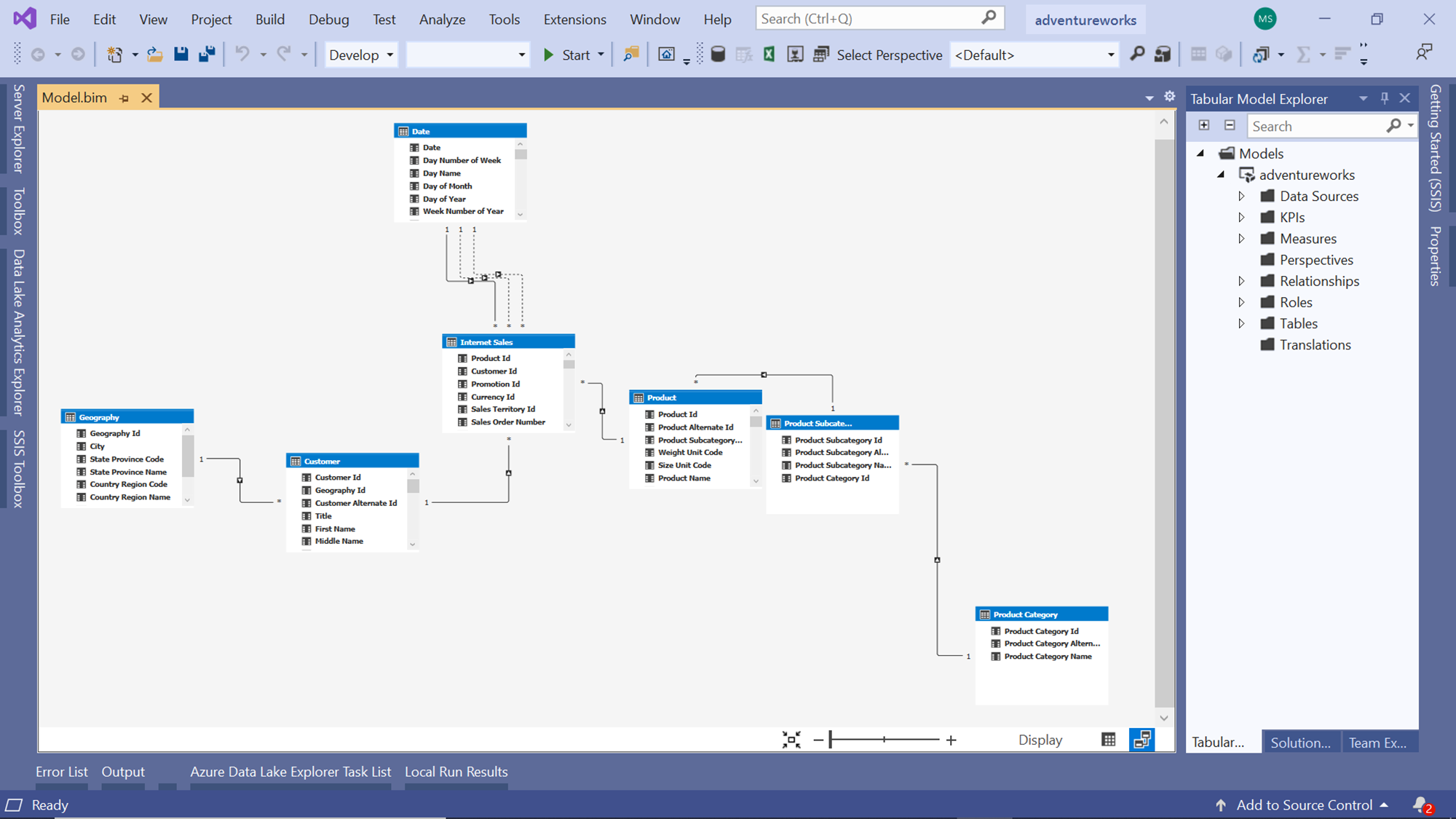Project with schema in diagram view