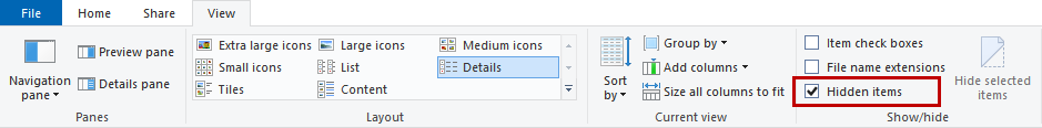 View hidden folders
