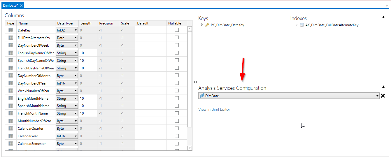Analysis Services configuration combo box