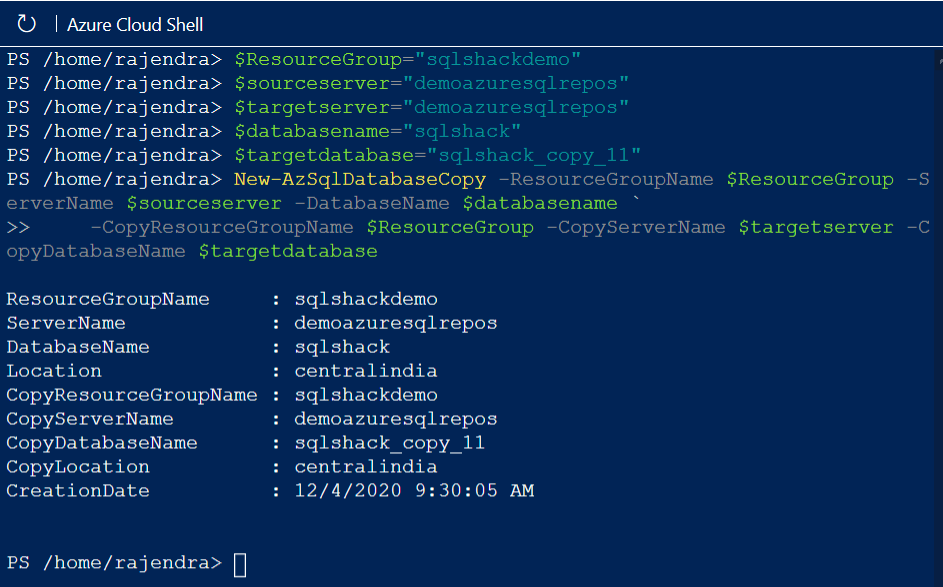 Copy an Azure SQL Database using Azure Cloud Shell