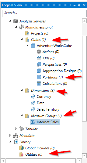 Logical view showing that SSAS OLAP cube object are recognized by BimlStudio